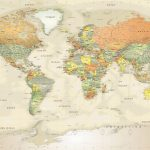 Detailed Antique Oceans World Political Map Mural   World Maps Online Printable