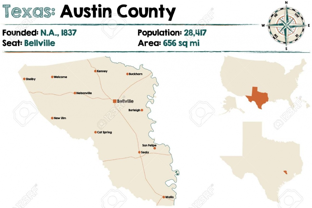 Detailed Map Of Austin County In Texas, United States - Austin County Texas Map