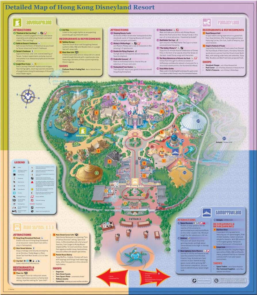 Detailed Map Of Hong Kong Disneyland Resort ? Four Themed Lands - Printable Disneyland Park Map