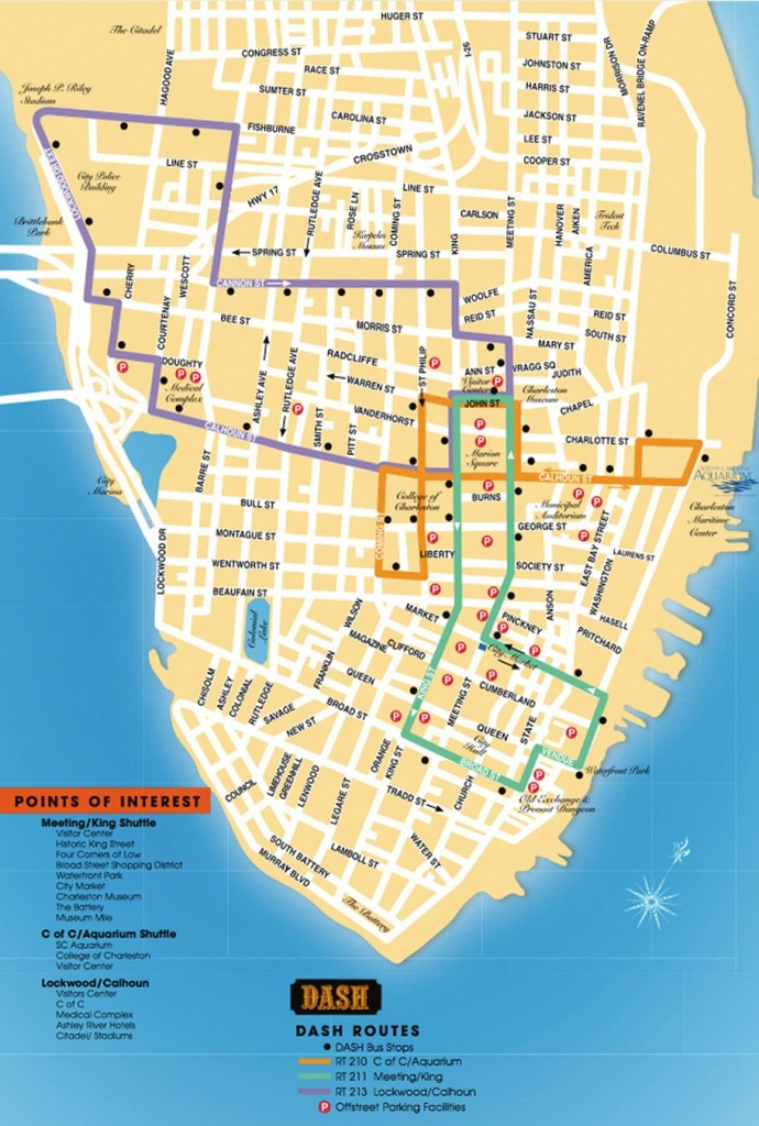 Detailed Map Of The Charleston Dash Trolley Routes.   Charleston Sc - Printable Map Of Charleston Sc Historic District