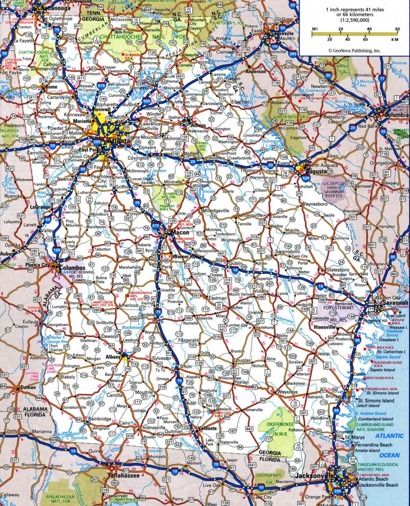 Detailed Road Map Of Georgia And Travel Information | Download Free - Georgia Road Map Printable