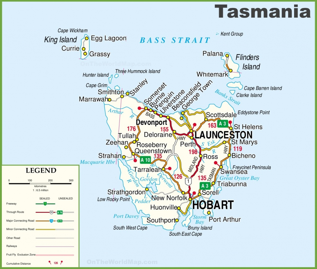 Detailed Tasmania Road Map With Cities And Towns - Printable Map Of Tasmania