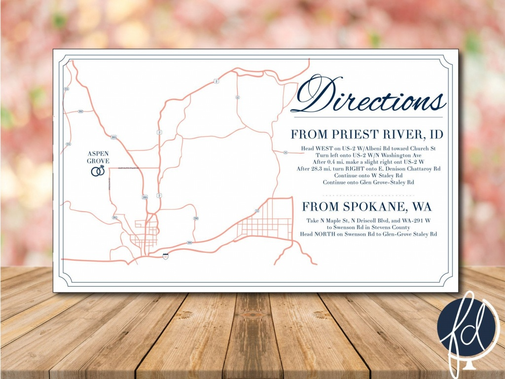 Directions Card, Custom Wedding Map, Details Card, Invitation Map - Printable Map Directions For Invitations