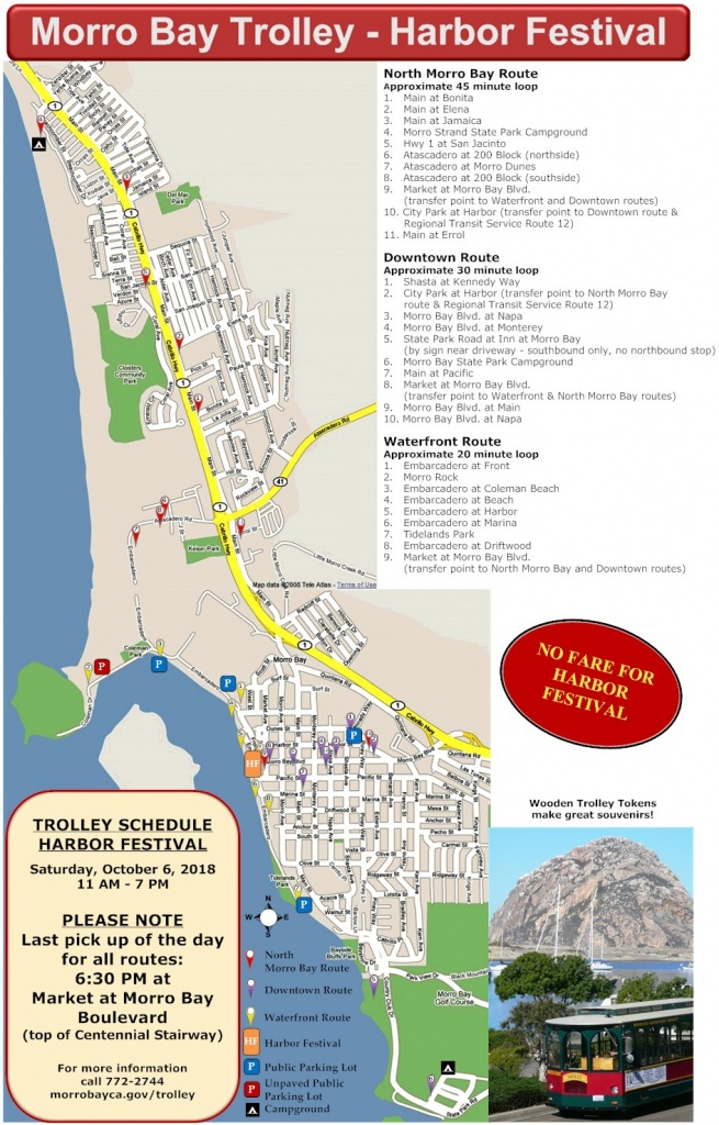 Directions, Maps, Free Trolley Information & Routes : Morro Bay - Morro Bay California Map