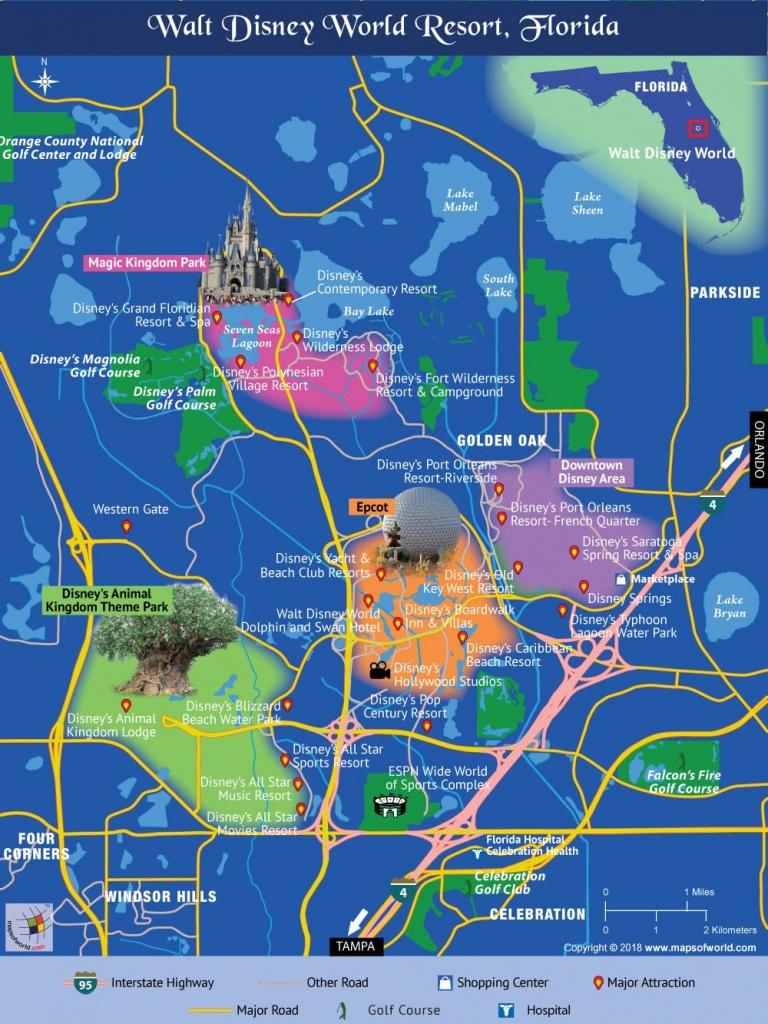 Disney World Map   Travel In 2019   Disney World Map, Disney Map - Florida Map Hotels