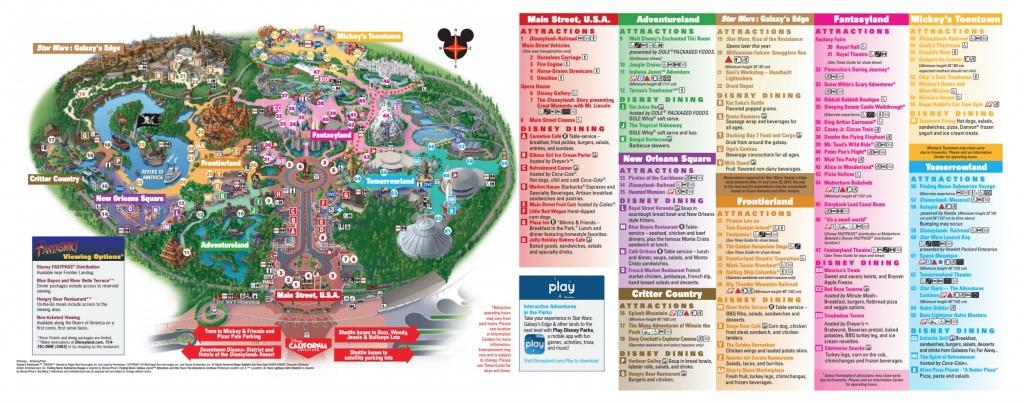 Disneyland Park Map In California, Map Of Disneyland - California Adventure Map 2017 Pdf