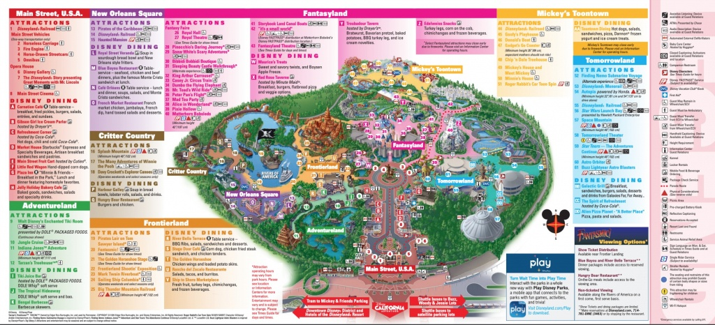 Disneyland Theme Parks, Disneyland Park California Adventure - Printable Disneyland Park Map