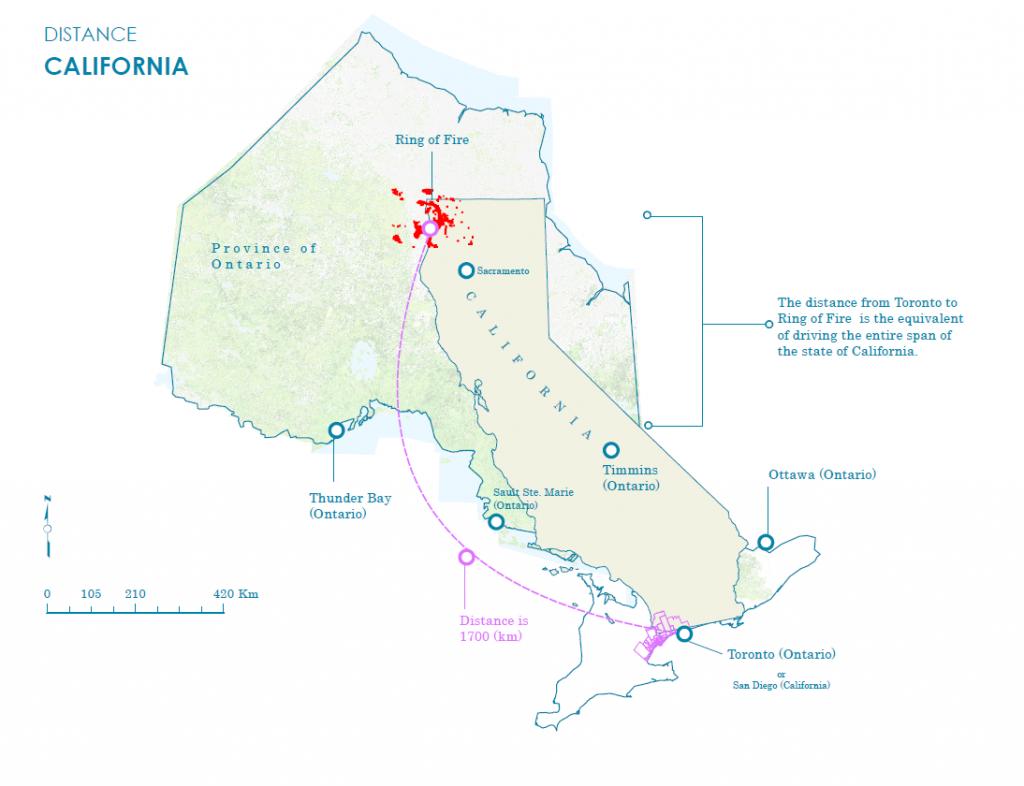 Distance Area Comparison Of The State Of California Inside Ontario - Toronto California Map