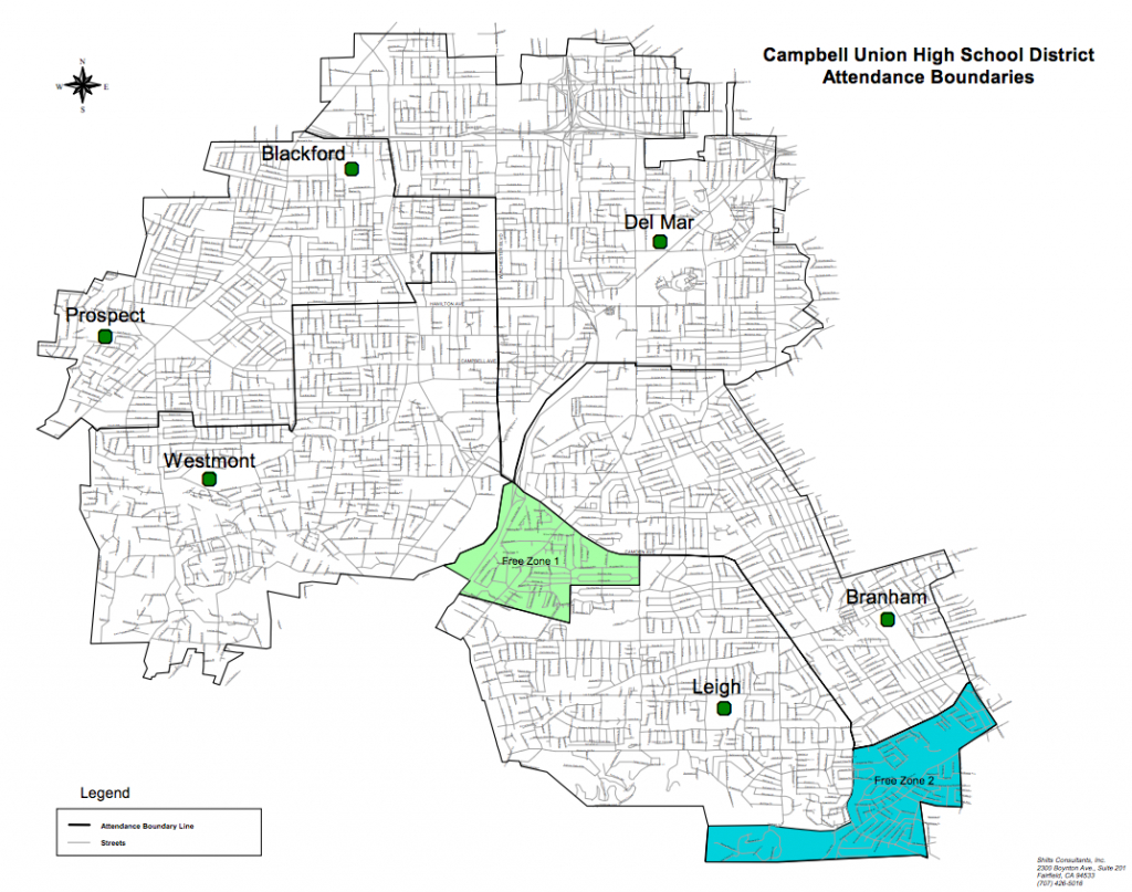 District Boundaries – Schools – Campbell Union High School District - Campbell California Map