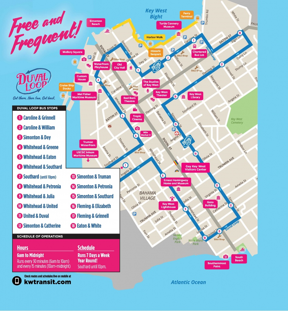 Document Center / Hop On - Hop Off The Free Duval Loop! / Key West, Fl - Printable Map Of Key West