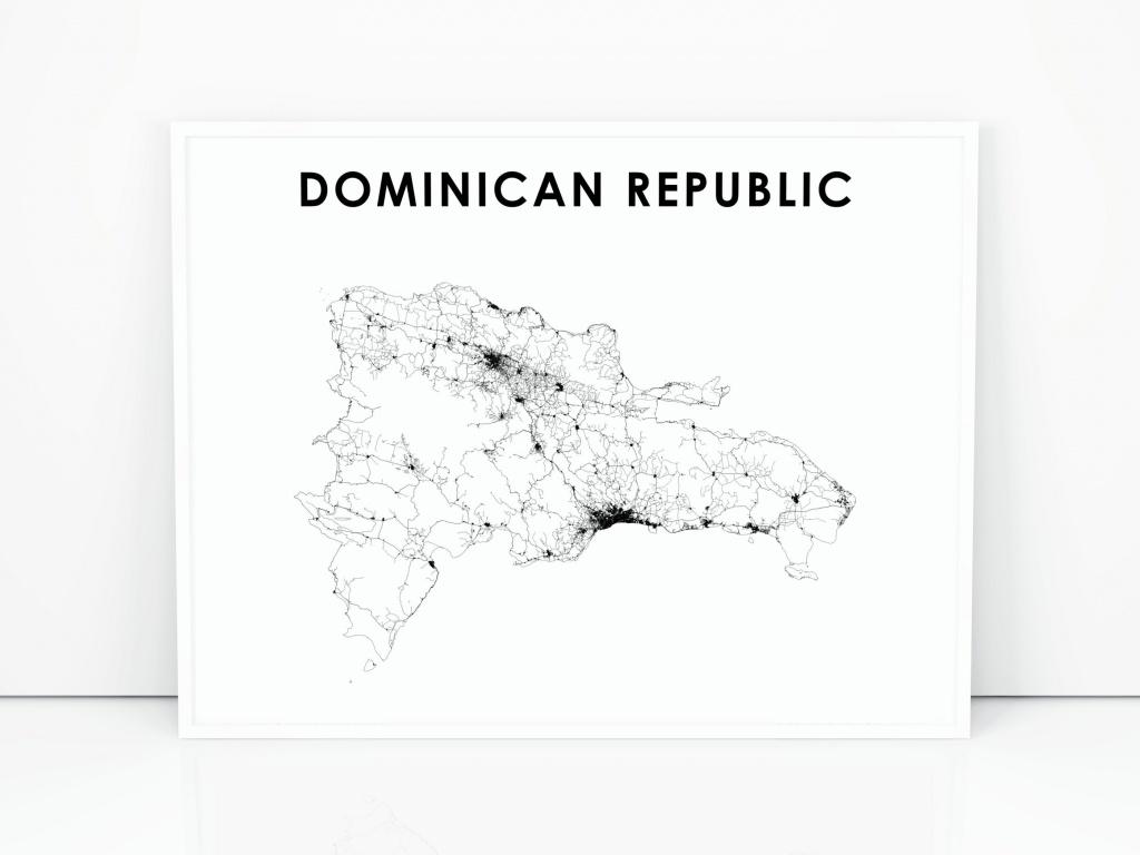 Dominican Republic Map Print Road Map Art Poster Dominicana   Etsy - Printable Map Of Dominican Republic