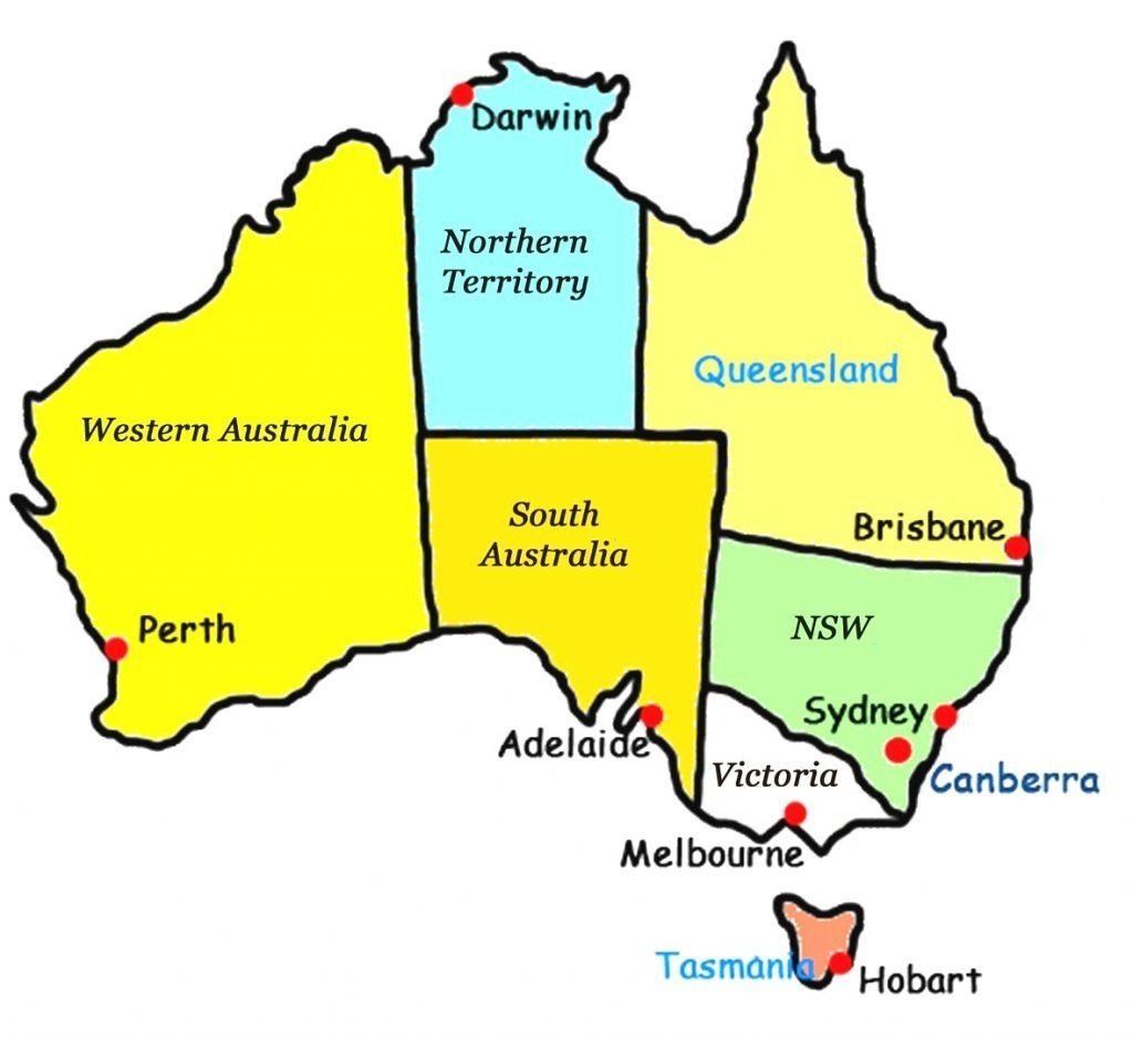 Download Map Of Australia With States And Capital Cities Major - Printable Map Of Australia With States And Capital Cities