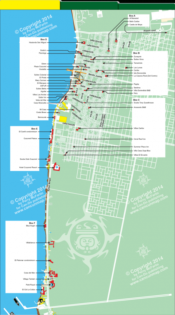 Downtown Cozumel Hotel Map | Travel In 2019 | Cozumel, Map, Travel - Printable Street Map Of Cozumel