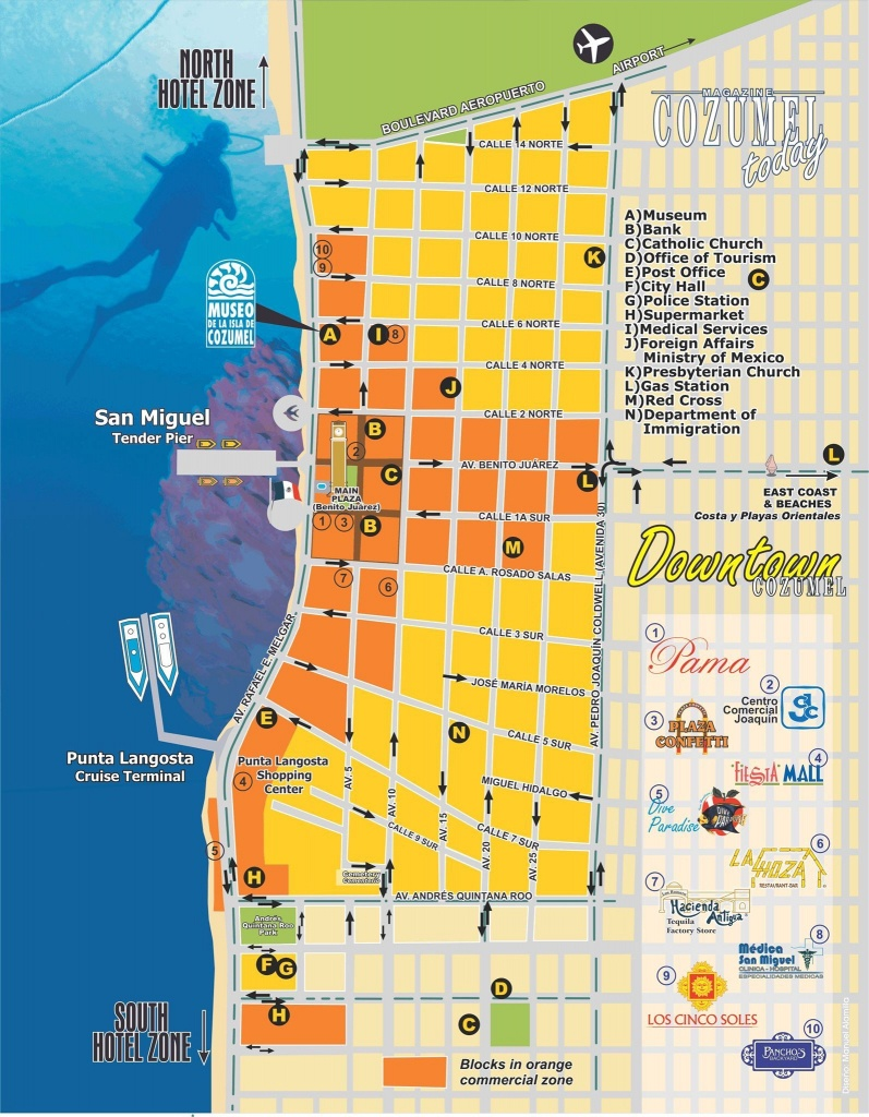 Downtown Cozumel Map | Cozumel In 2019 | Cozumel Cruise, Cozumel - Printable Street Map Of Cozumel