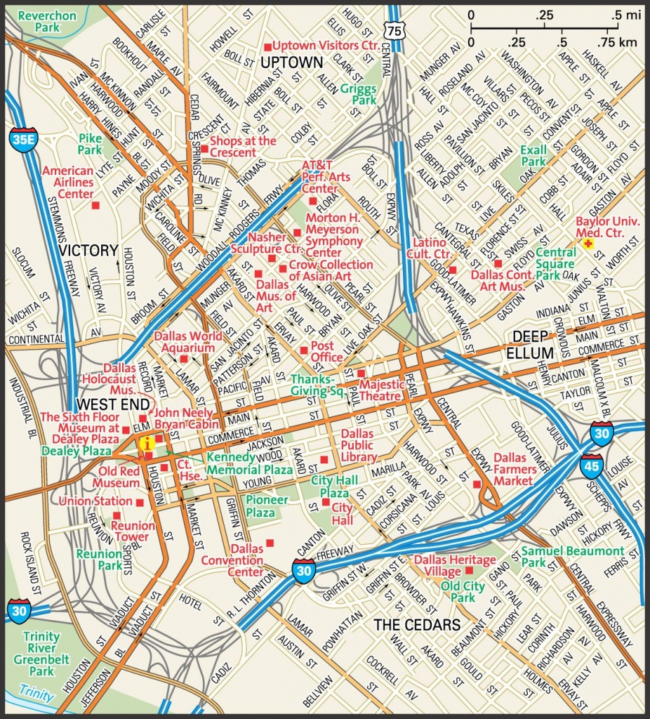 Downtown Dallas Map And Guide   Downtown Dallas Street Map   Travel - Printable Map Of Dallas