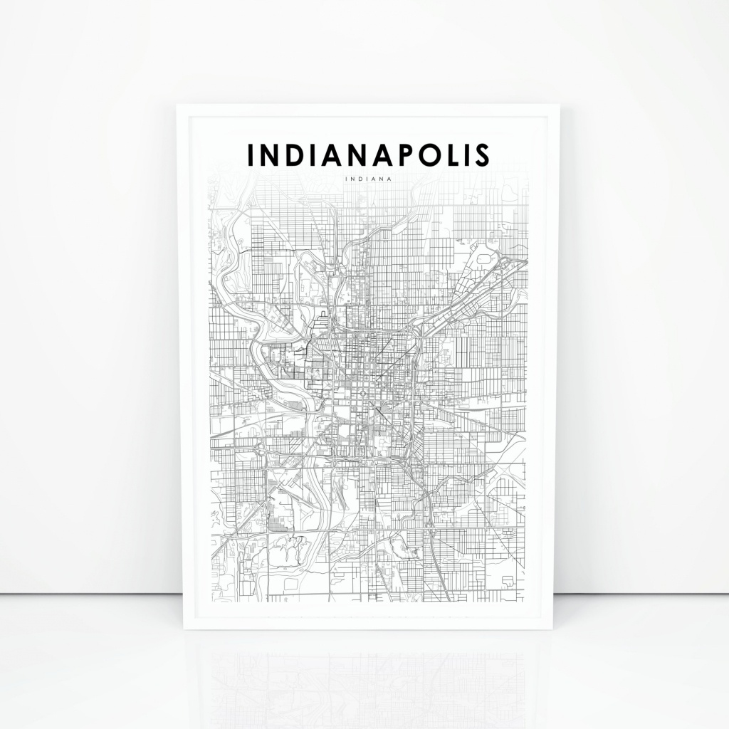 Downtown Indianapolis Map Print Indiana In Usa Map Art | Etsy - Downtown Indianapolis Map Printable