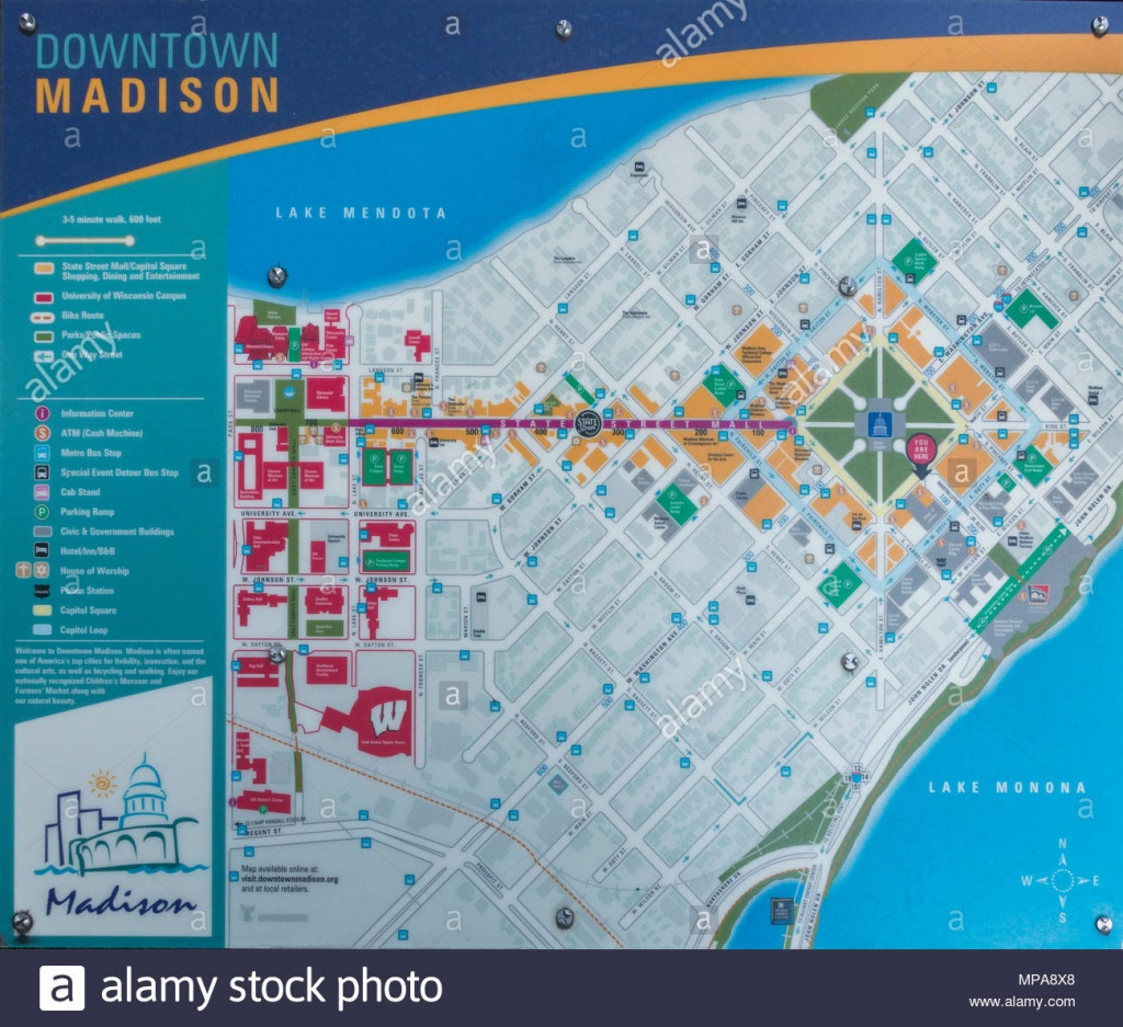 Downtown Madison Wisconsin Map Stock Photo: 185852640 - Alamy - Printable Map Of Downtown Madison Wi