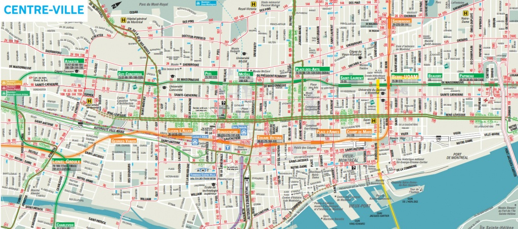 Downtown Montreal Map - Montreal Travel Guide - Printable Street Map Of Montreal