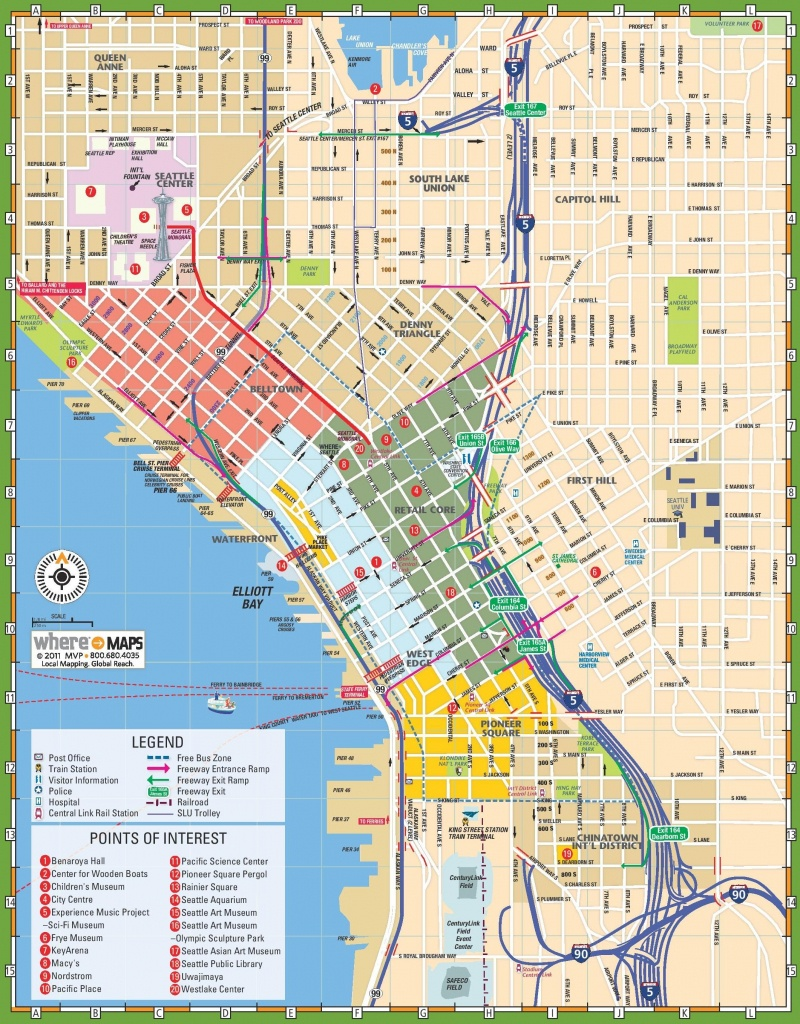 Downtown Seattle Street Map - Map Of Downtown Seattle Streets - Printable Map Of Downtown Seattle