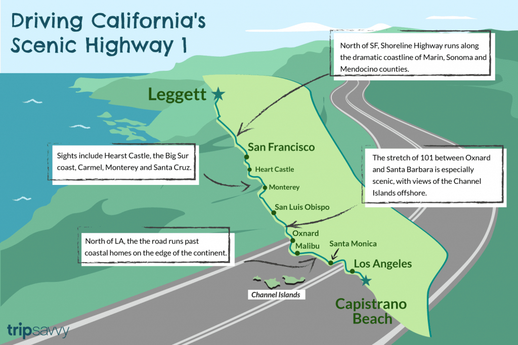 Driving California's Scenic Highway One - California Coast Drive Map