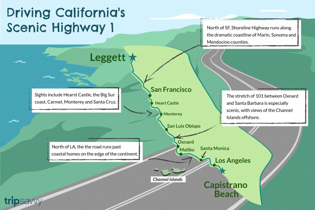 Driving California's Scenic Highway One - California Scenic Highway Map