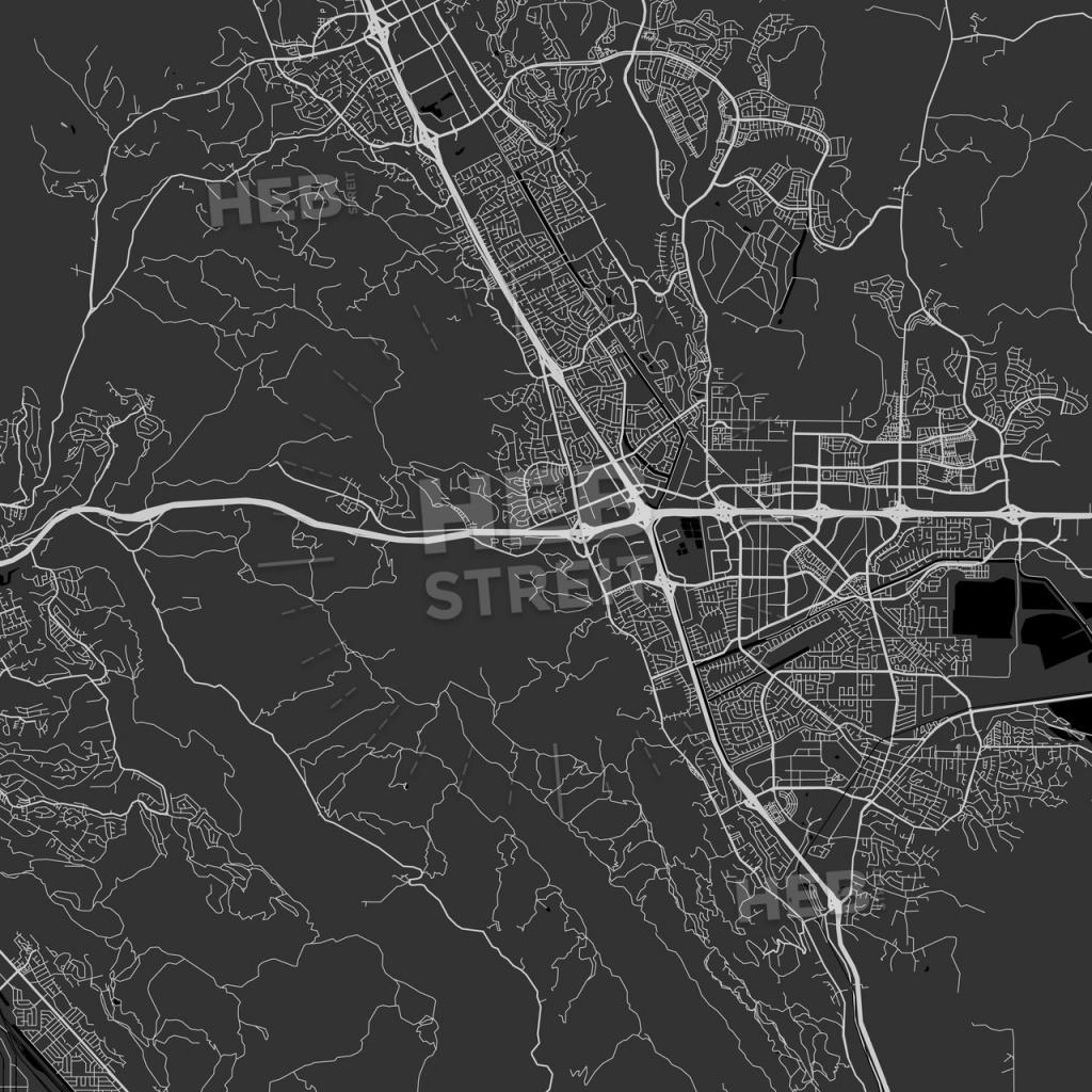 Dublin, California - Area Map - Dark   Hebstreits Sketches - Map Of Dublin California Area