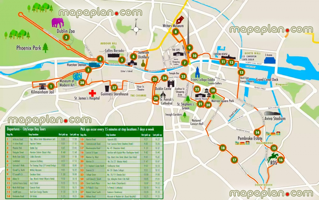 Dublin Maps - Top Tourist Attractions - Free, Printable City Street - Dublin City Map Printable