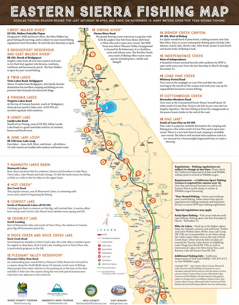 Eastern Sierra Fishing Map - Scenic 395 - Map Eastern Sierras California