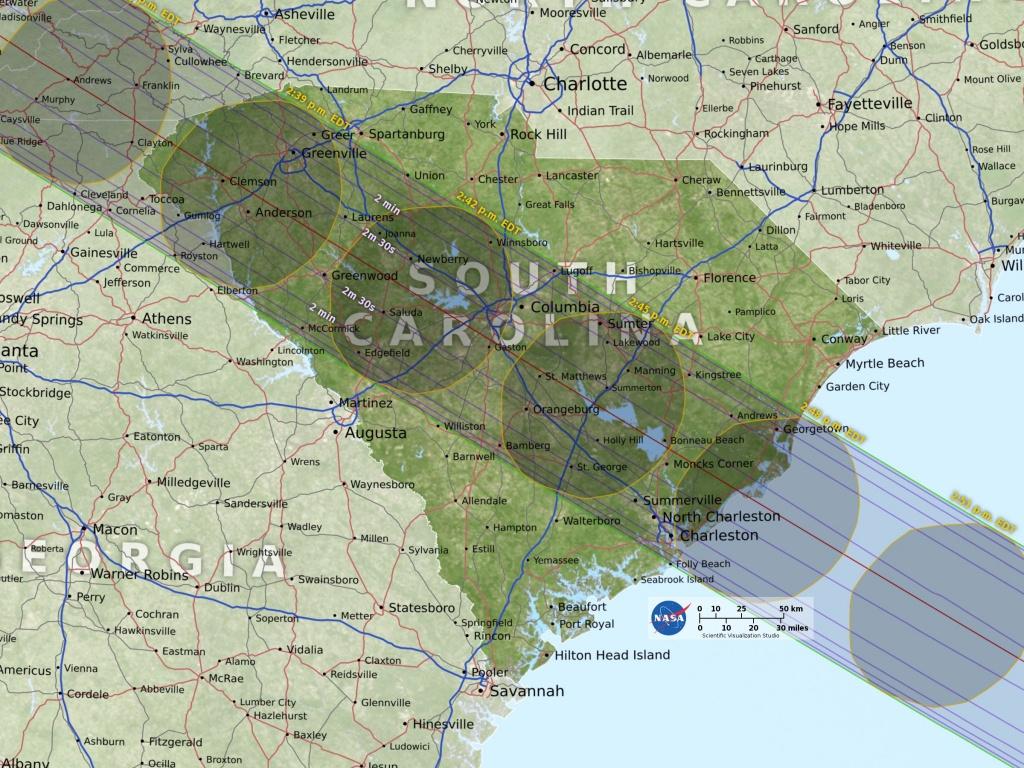 Eclipse Maps | Total Solar Eclipse 2017 - Printable Eclipse Map