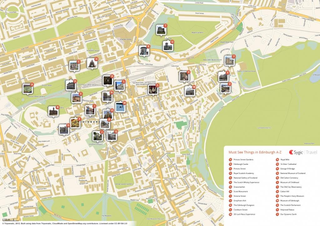 Edinburgh Printable Tourist Map | Sygic Travel - Edinburgh City Map Printable