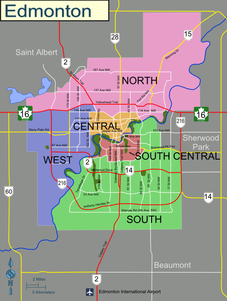Edmonton – Travel Guide At Wikivoyage - Printable Map Of Edmonton