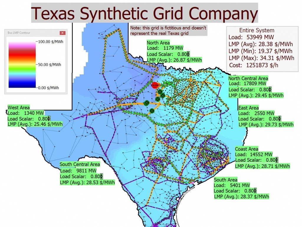 Electric Grid Test Case Repository - Texas Electric Grid Map