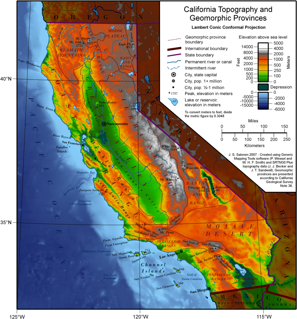 Elevation Map Of California | Historical Maps | California Map - California Topographic Map Elevations