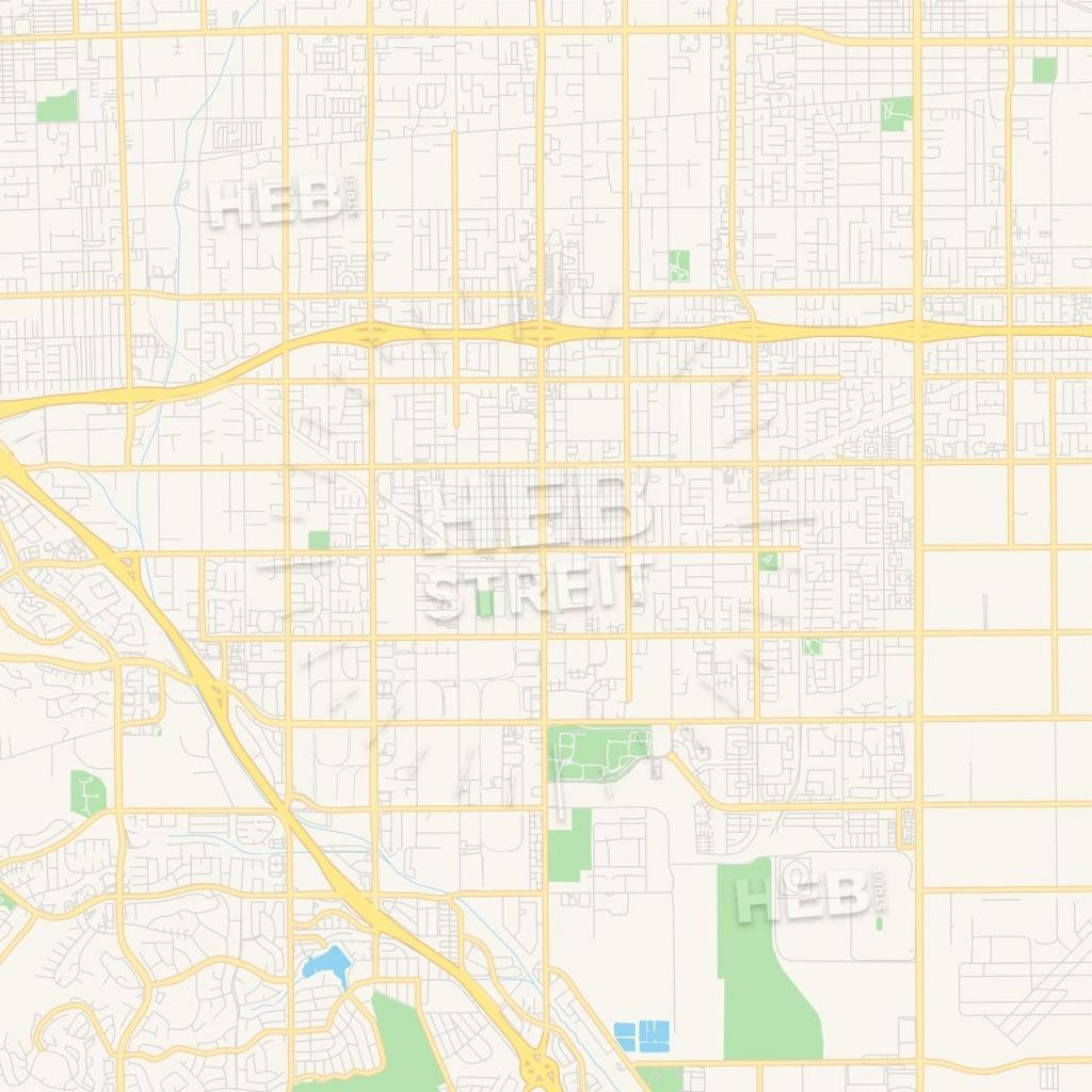 Empty Vector Map Of Chino, California, Usa   Maps Vector Downloads - Chino California Map