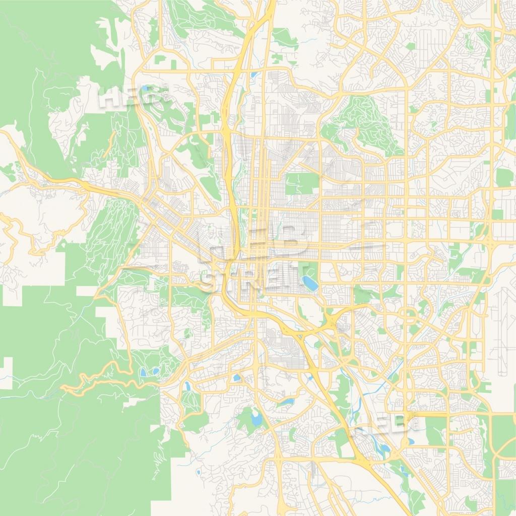 Empty Vector Map Of Colorado Springs, Colorado, Usa | Hebstreits - Printable Road Map Of Colorado