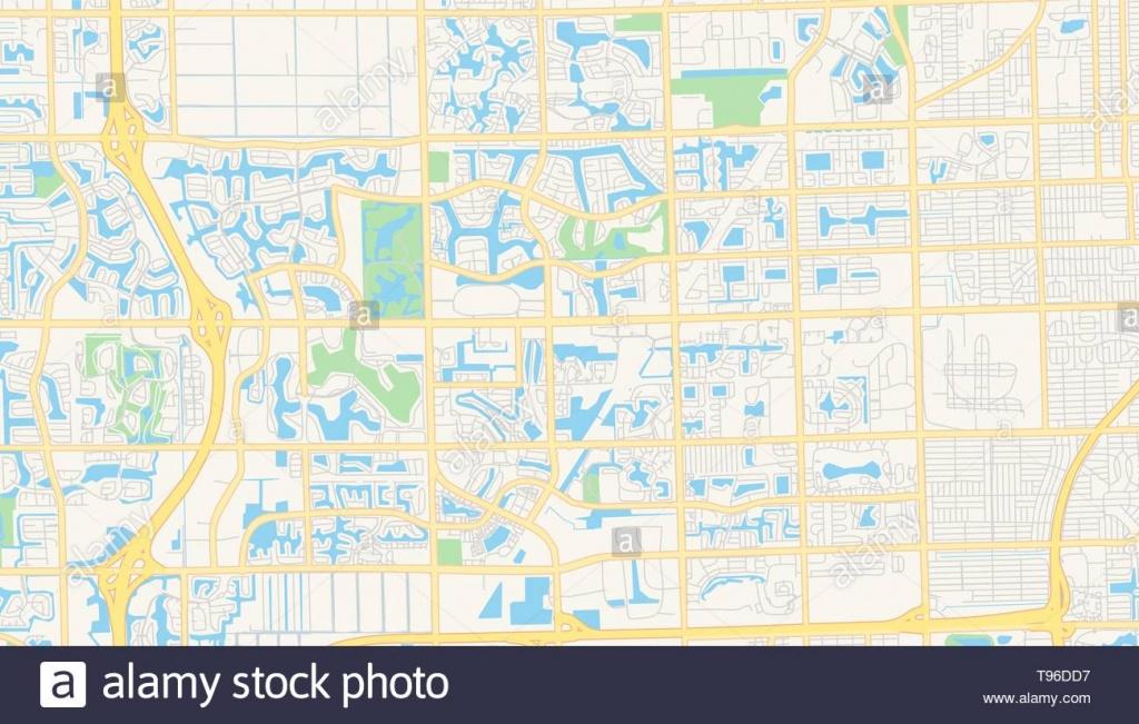 Empty Vector Map Of Pembroke Pines, Florida, Usa, Printable Road Map - Pembroke Pines Florida Map