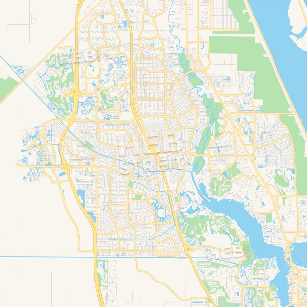 Empty Vector Map Of Port St. Lucie, Florida, Usa | Hebstreits Sketches - Map Of Florida With Port St Lucie
