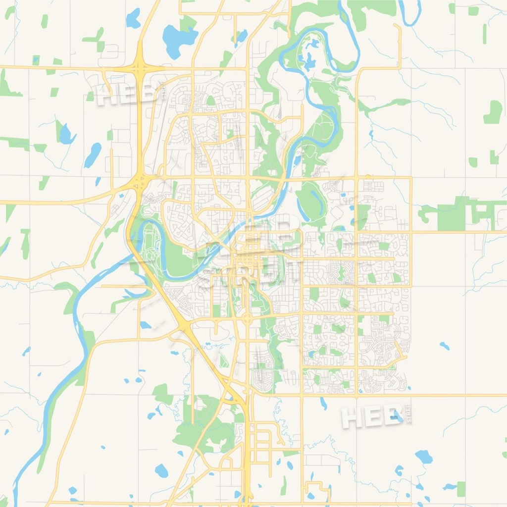 Empty Vector Map Of Red Deer, Alberta, Canada | Maps Vector Downloads - Printable Red Deer Map