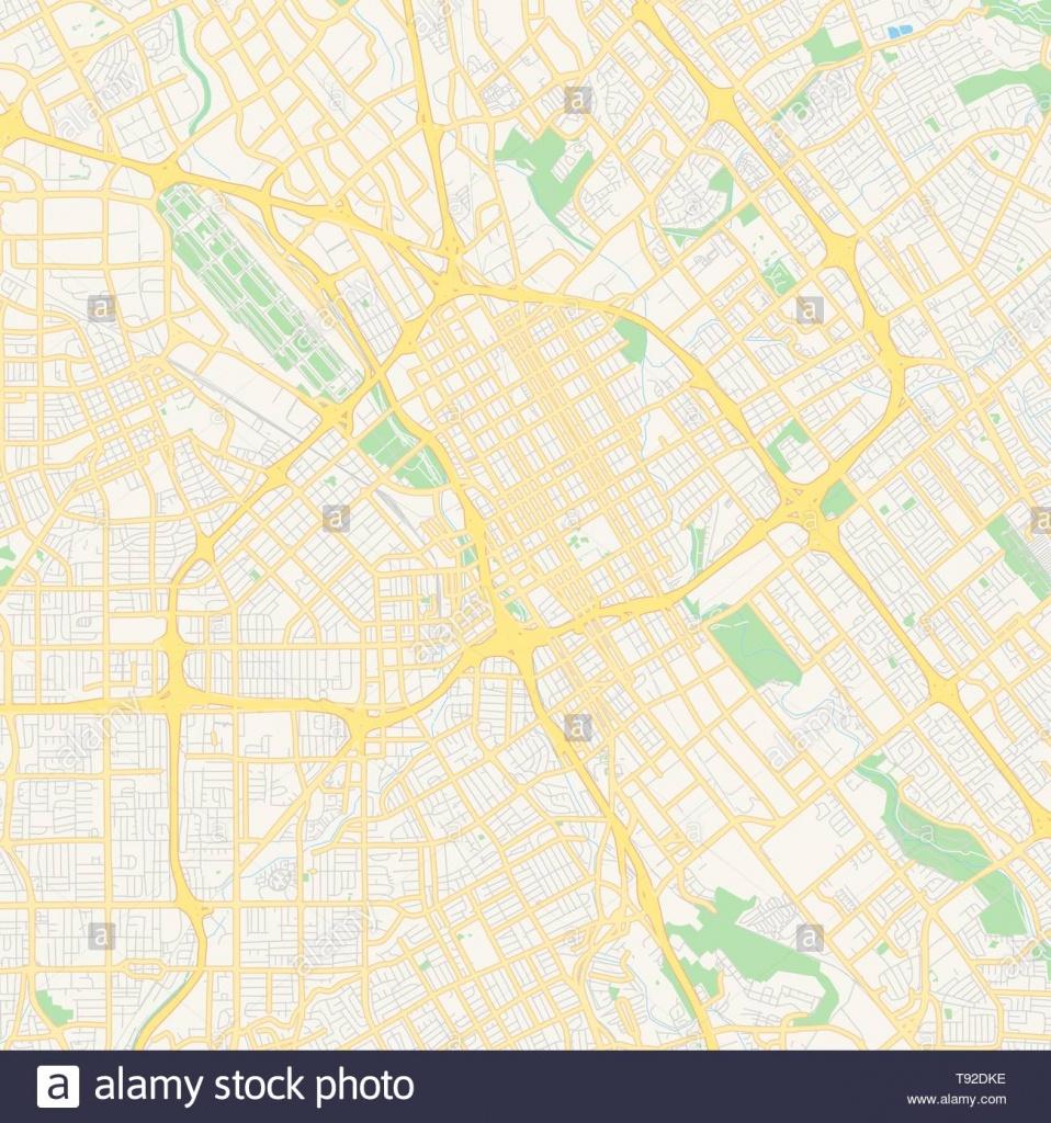 Empty Vector Map Of San Jose, California, Usa, Printable Road Map - Printable Map Of San Jose