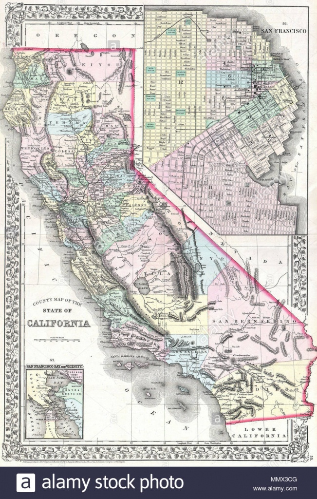 English: A Beautiful Example Of S. A. Mitchell Jr.'s 1872 Map Of - Map Of Mid California