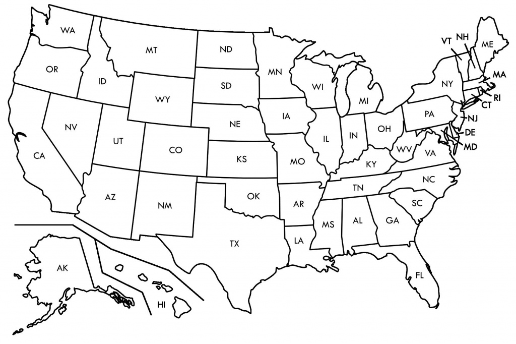 Enthralling Blank Ms Map Us Map Abbreviated States Blank U S Map - Printable State Maps
