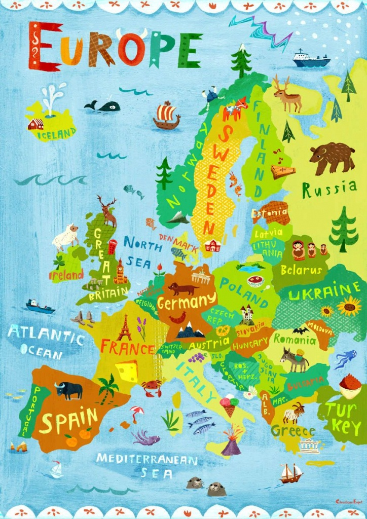 Europe Map Illustration / Digital Print Poster / Kidschengel - Printable Travel Maps For Kids