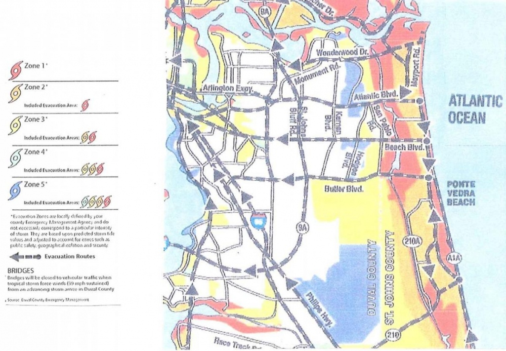 Evacuation And Re-Entry | City Of Jacksonville Beach - Florida Evacuation Route Map