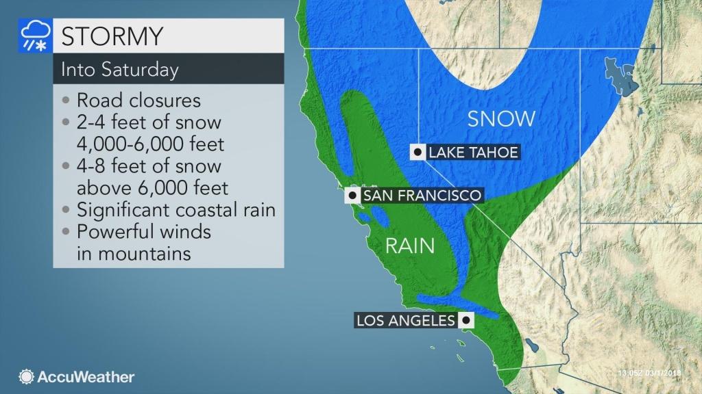 Evacuation Orders Lifted As Major Storm Slams California With Rain - California Coast Weather Map