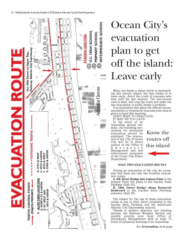 Evacuation Route Map - Printable Street Map Ocean City Nj