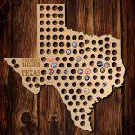 Everything Is Bigger In Texas Beer Cap Map, Brown | Great Idea   Texas Beer Cap Map