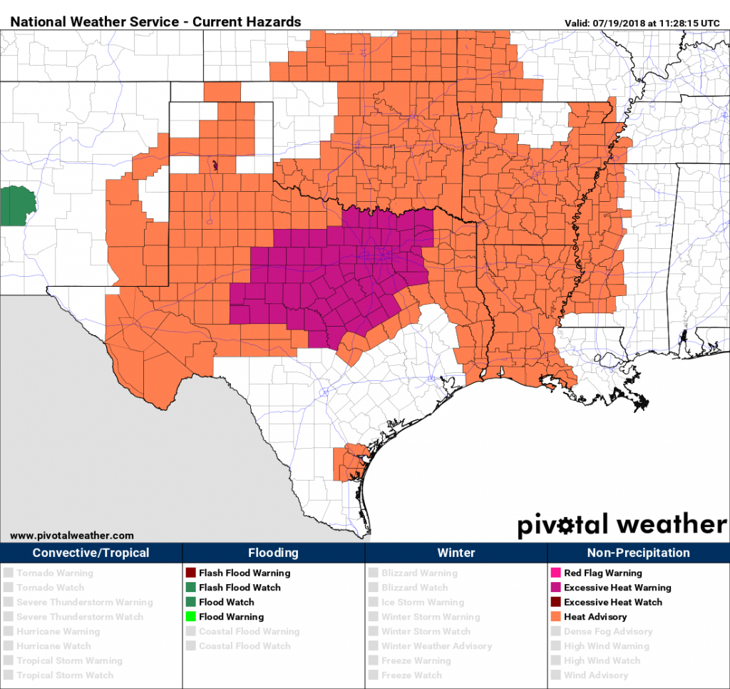 Extreme Heat Moves Into Texas This Weekend – Space City Weather - Texas Heat Map
