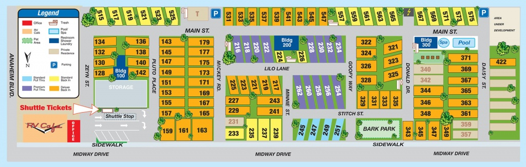 Facilities Map - Anaheim Rv Park, Facilities Map - California Rv Campgrounds Map
