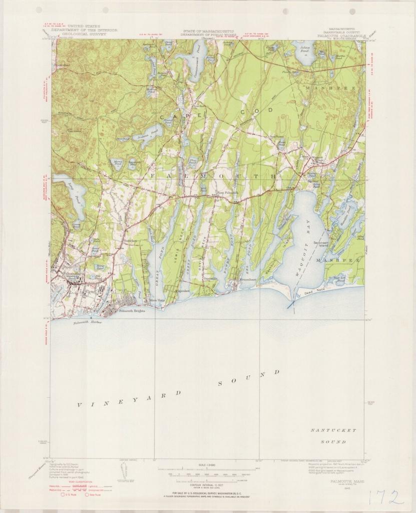 Falmouth Ma 1946-1954 Original Usgs Topographic Map Cape   Etsy - Printable Map Of Falmouth Ma
