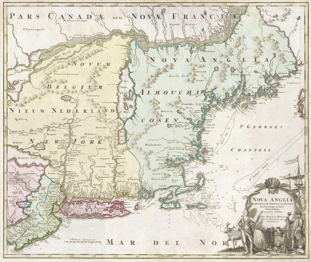 """File:1716 Homann Map Of New England """"nova Anglia"""" - Geographicus - Printable Map Of New England States"""